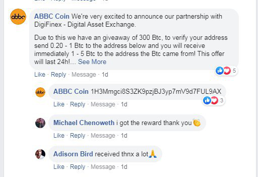 A scam comment about an exchange listing giveaway