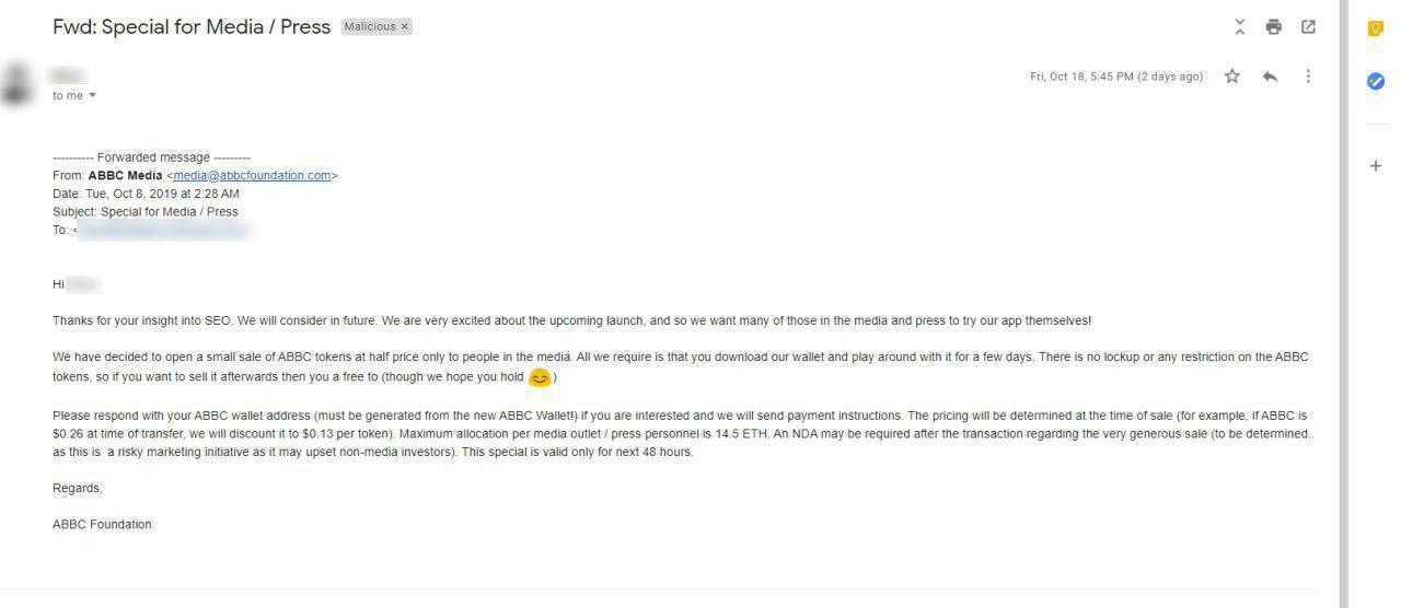 Fake email sent to media contacts